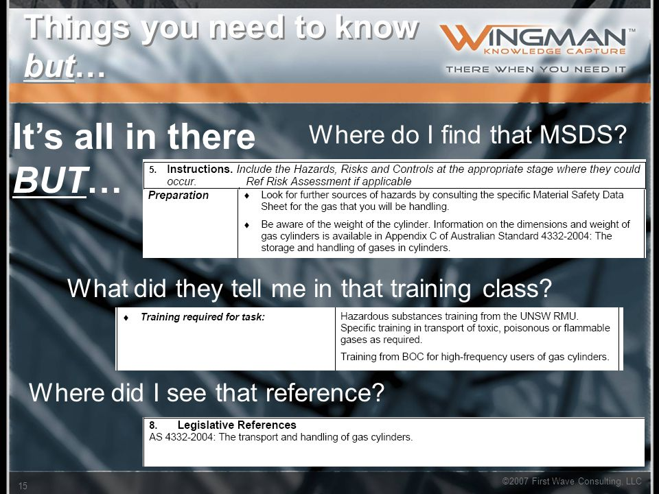 ©2007 First Wave Consulting, LLC 15 Things you need to know but… Where do I find that MSDS.