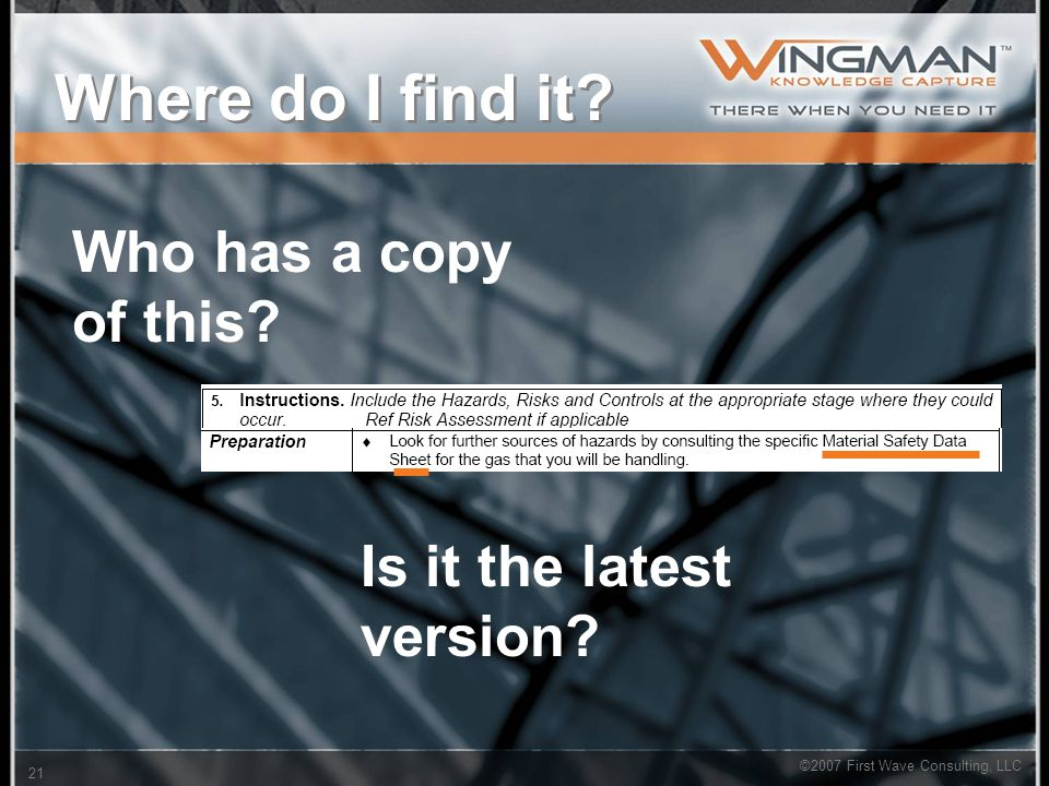 ©2007 First Wave Consulting, LLC 21 Where do I find it? Who has a copy of this? Is it the latest version?