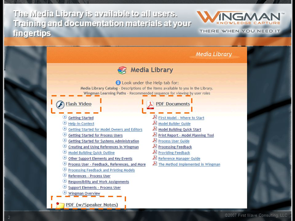 2 ©2007 First Wave Consulting, LLC The Media Library is available to all users. Training and documentation materials at your fingertips