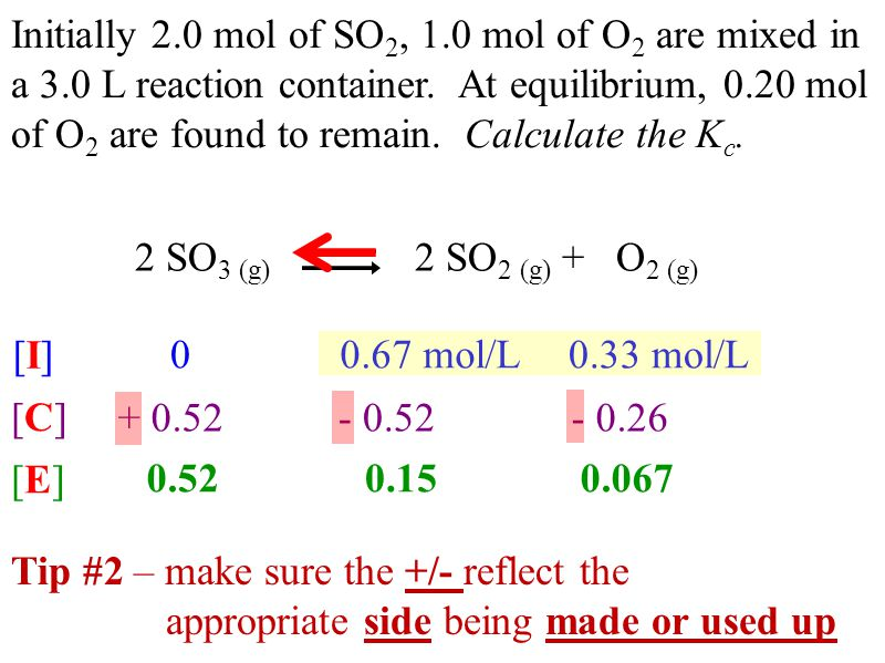 Initially 2.0 mol of SO 2, 1.0 mol of O 2 are mixed in a 3.0 L reaction container.
