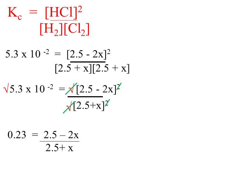5.3 x 10 -2 = [2.5 - 2x] 2 [2.5 + x][2.5 + x] K c = [HCl] 2 [H 2 ][Cl 2 ] √ 5.3 x 10 -2 = [2.5 - 2x] 2 [2.5+x] 2 √ √ 0.23 = 2.5 – 2x 2.5+ x
