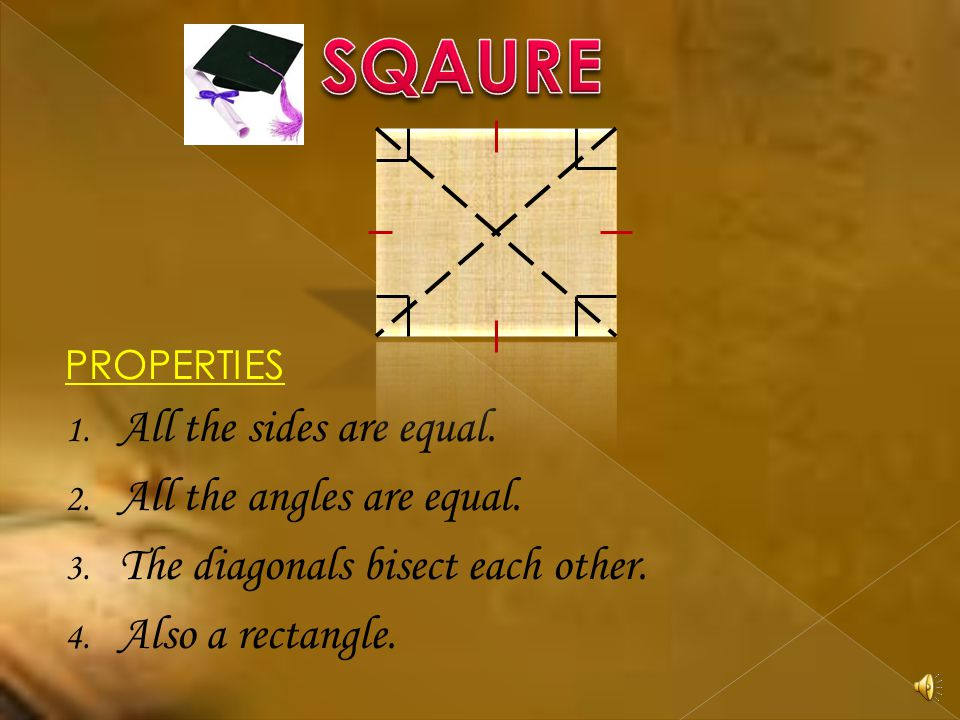 PROPERTIES 1. A quadrilateral with each pair of opposite side parallel. 2. Opposite sides are equal 3. Opposite angles are equal. 4. Diagonals bisect