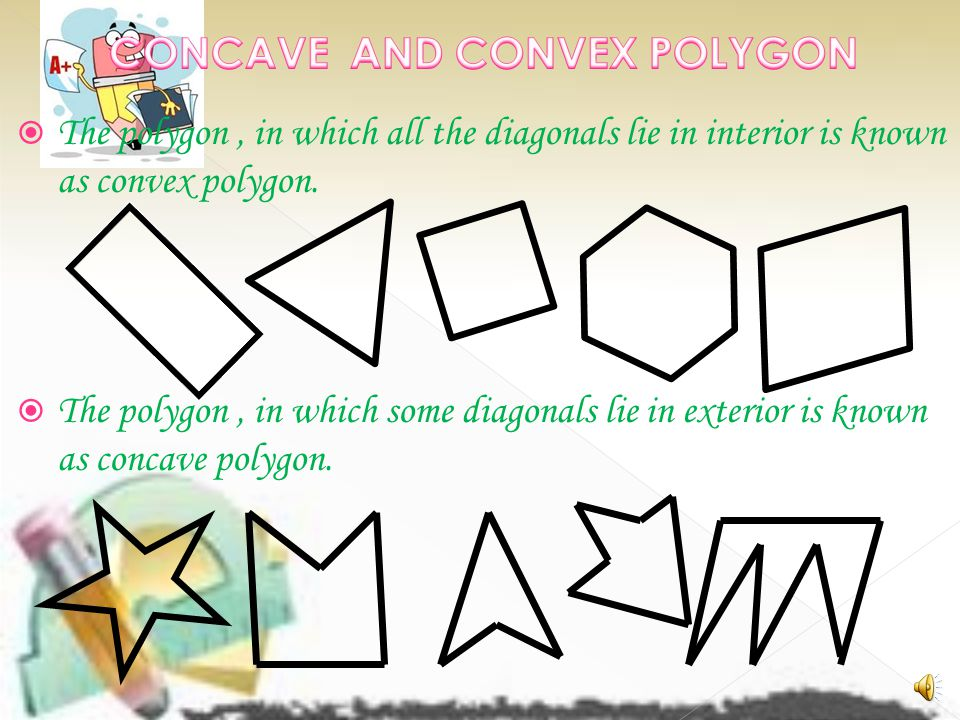  The polygon, in which all the diagonals lie in interior is known as convex polygon.