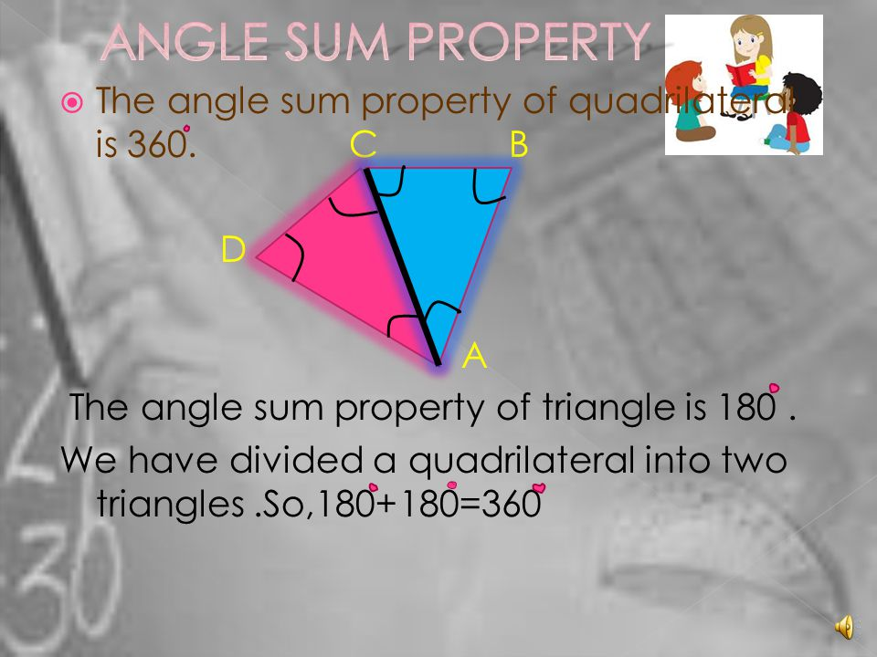 TThe angle sum property of quadrilateral is 360.