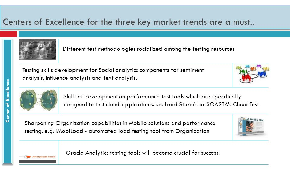 Centers of Excellence for the three key market trends are a must..