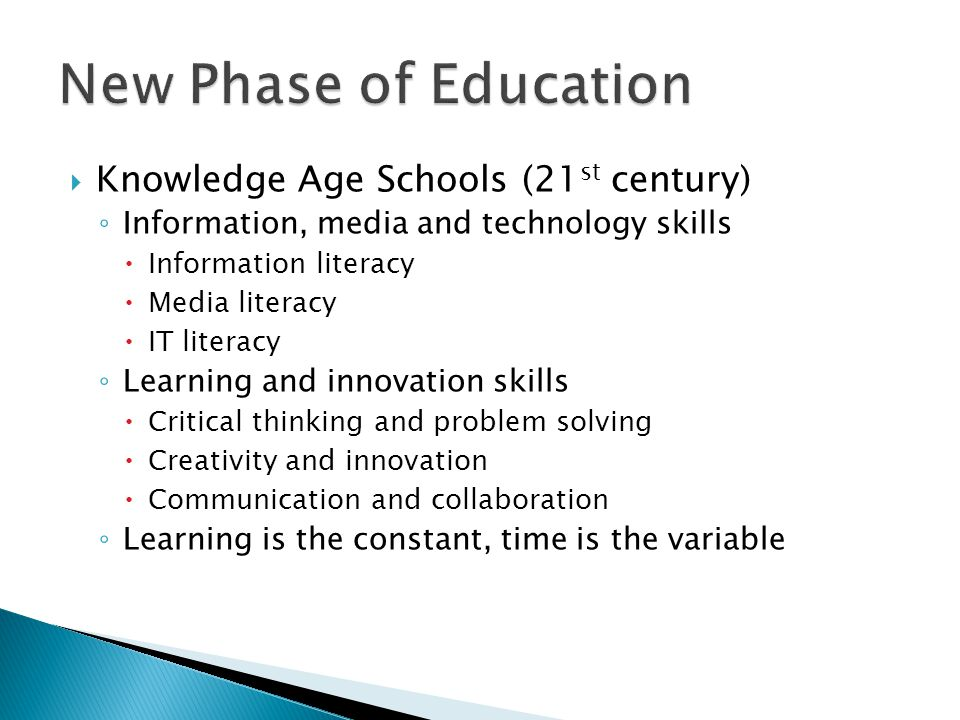 Knowledge Age Schools (21 st century) ◦ Information, media and technology skills  Information literacy  Media literacy  IT literacy ◦ Learning and innovation skills  Critical thinking and problem solving  Creativity and innovation  Communication and collaboration ◦ Learning is the constant, time is the variable