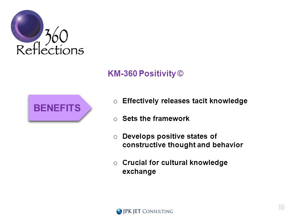 KM-360 Positivity © o Effectively releases tacit knowledge o Sets the framework o Develops positive states of constructive thought and behavior o Crucial for cultural knowledge exchange BENEFITS