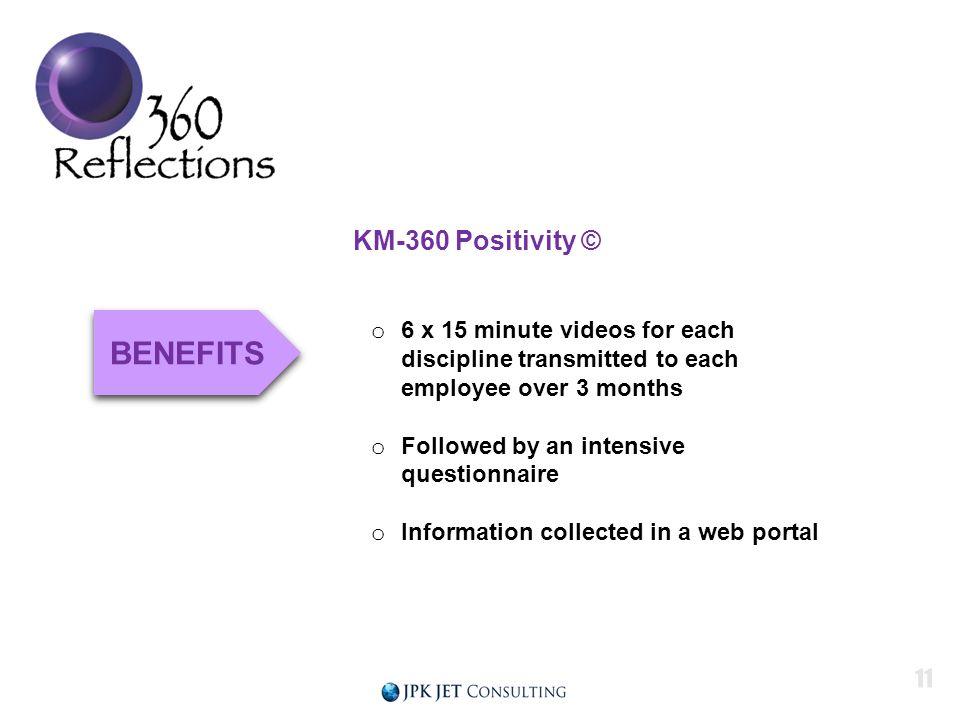 KM-360 Positivity © o 6 x 15 minute videos for each discipline transmitted to each employee over 3 months o Followed by an intensive questionnaire o Information collected in a web portal BENEFITS