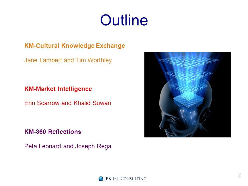 Outline KM-Cultural Knowledge Exchange Jane Lambert and Tim Worthley KM-Market Intelligence Erin Scarrow and Khalid Suwan KM-360 Reflections Peta Leonard and Joseph Rega 2
