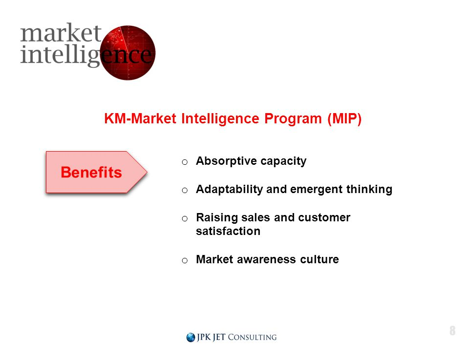 KM-Market Intelligence Program (MIP) o Absorptive capacity o Adaptability and emergent thinking o Raising sales and customer satisfaction o Market awareness culture Benefits