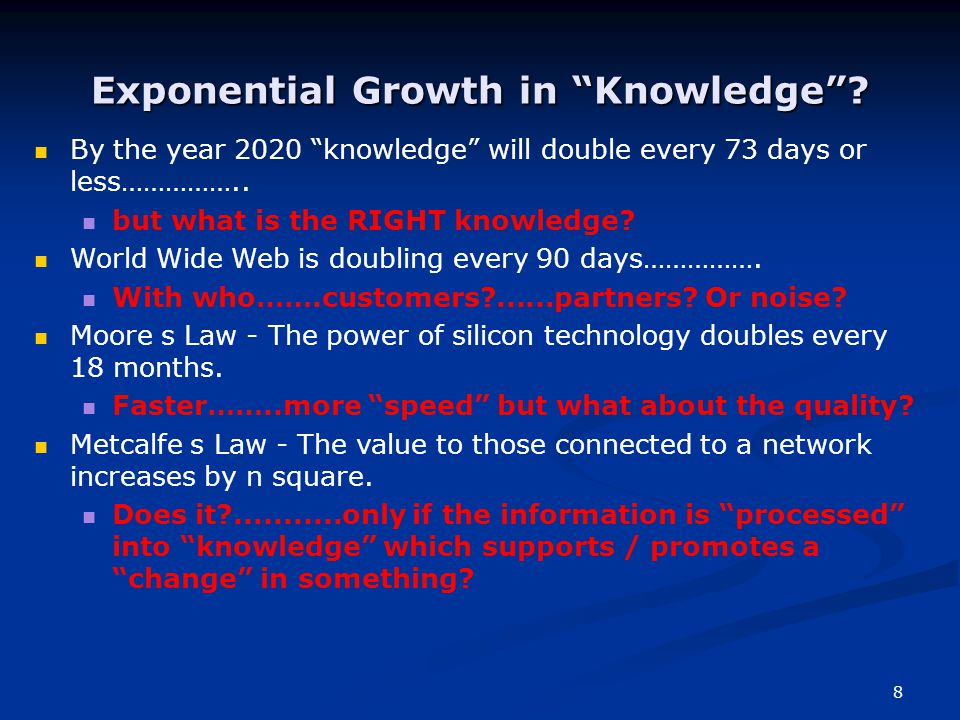 8 Exponential Growth in Knowledge .