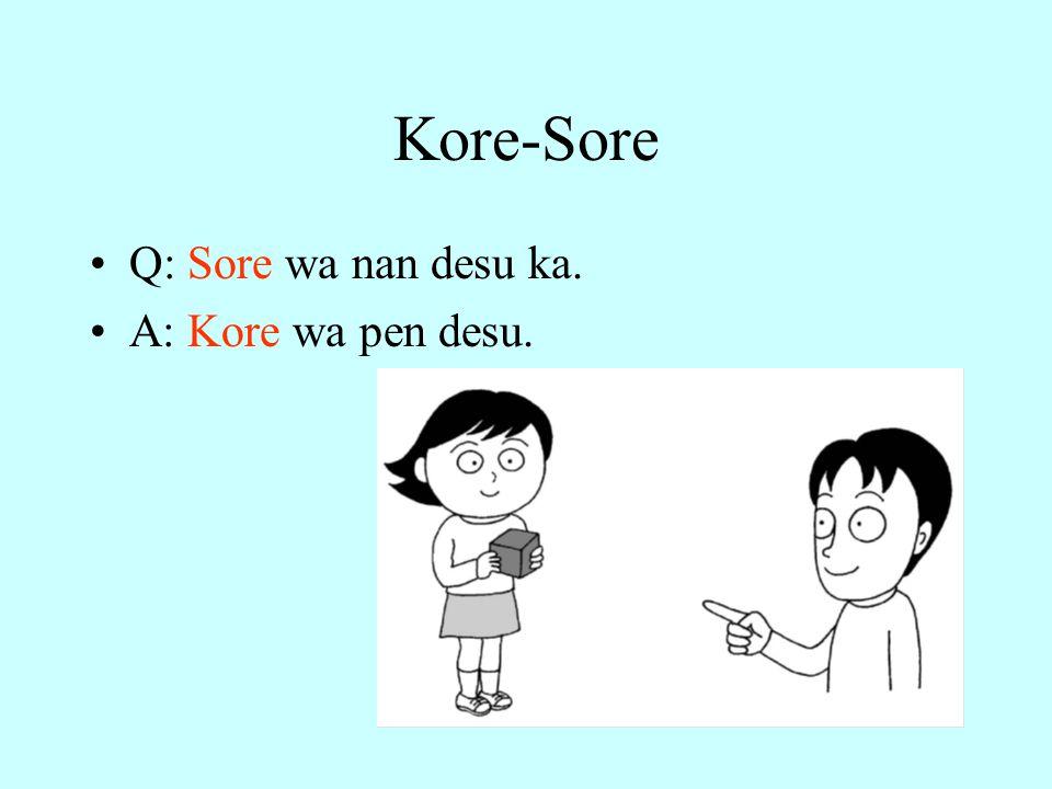 Kore-Sore Q: Sore wa nan desu ka. A: Kore wa pen desu.