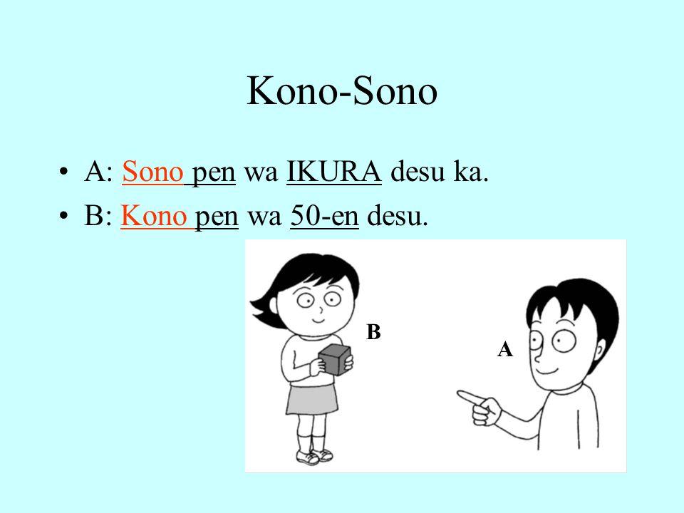 Kono-Sono A: Sono pen wa IKURA desu ka. B: Kono pen wa 50-en desu. A B
