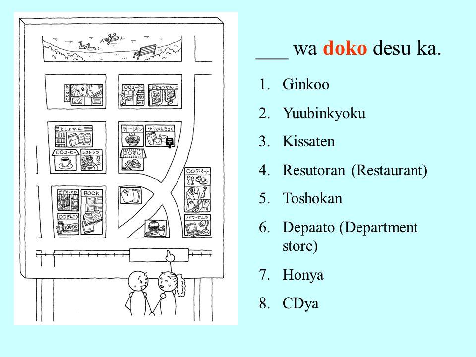 ___ wa doko desu ka. 1.Ginkoo 2.Yuubinkyoku 3.Kissaten 4.Resutoran (Restaurant) 5.Toshokan 6.Depaato (Department store) 7.Honya 8.CDya
