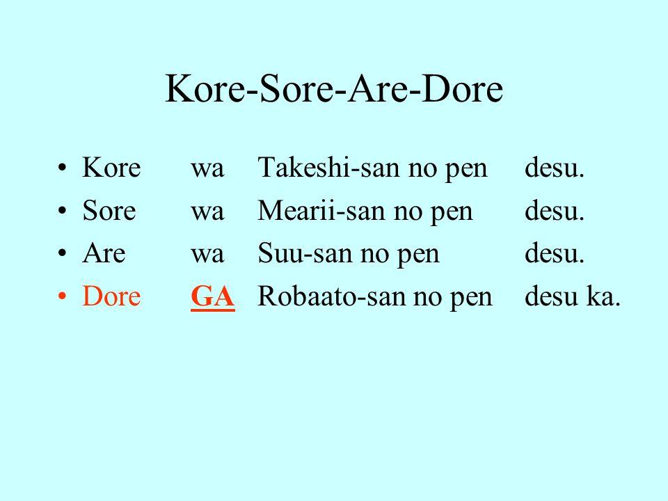 Kore-Sore-Are-Dore Kore wa Takeshi-san no pen desu. Sore wa Mearii-san no pen desu. Are wa Suu-san no pen desu. Dore GA Robaato-san no pen desu ka.