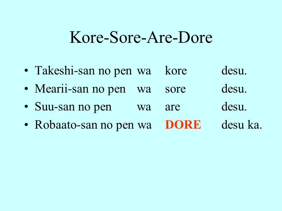 Kore-Sore-Are-Dore Takeshi-san no pen wakoredesu. Mearii-san no pen wasoredesu. Suu-san no pen waaredesu. Robaato-san no pen waDOREdesu ka.
