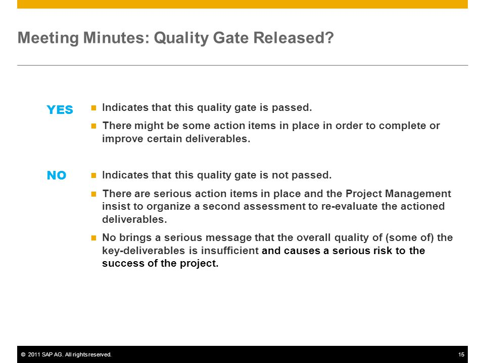 ©2011 SAP AG.All rights reserved.15 Meeting Minutes: Quality Gate Released.