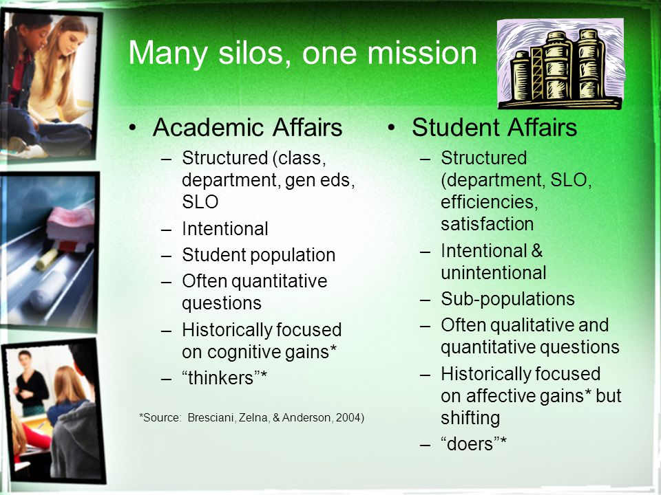 Many silos, one mission Academic Affairs –Structured (class, department, gen eds, SLO –Intentional –Student population –Often quantitative questions –Historically focused on cognitive gains* – thinkers * Student Affairs –Structured (department, SLO, efficiencies, satisfaction –Intentional & unintentional –Sub-populations –Often qualitative and quantitative questions –Historically focused on affective gains* but shifting – doers * *Source: Bresciani, Zelna, & Anderson, 2004)