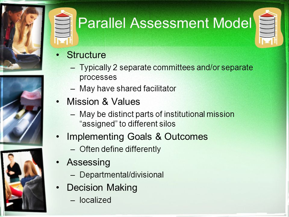 Parallel Assessment Model Structure –Typically 2 separate committees and/or separate processes –May have shared facilitator Mission & Values –May be distinct parts of institutional mission assigned to different silos Implementing Goals & Outcomes –Often define differently Assessing –Departmental/divisional Decision Making –localized