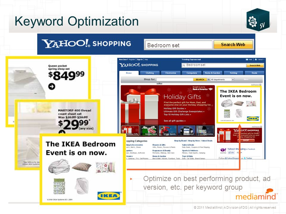 © 2011 MediaMind | A Division of DG | All rights reserved Keyword Optimization ▸ Optimize on best performing product, ad version, etc. per keyword gro