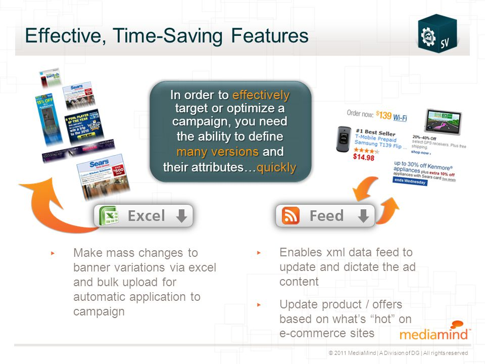 © 2011 MediaMind | A Division of DG | All rights reserved Effective, Time-Saving Features ▸ Make mass changes to banner variations via excel and bulk