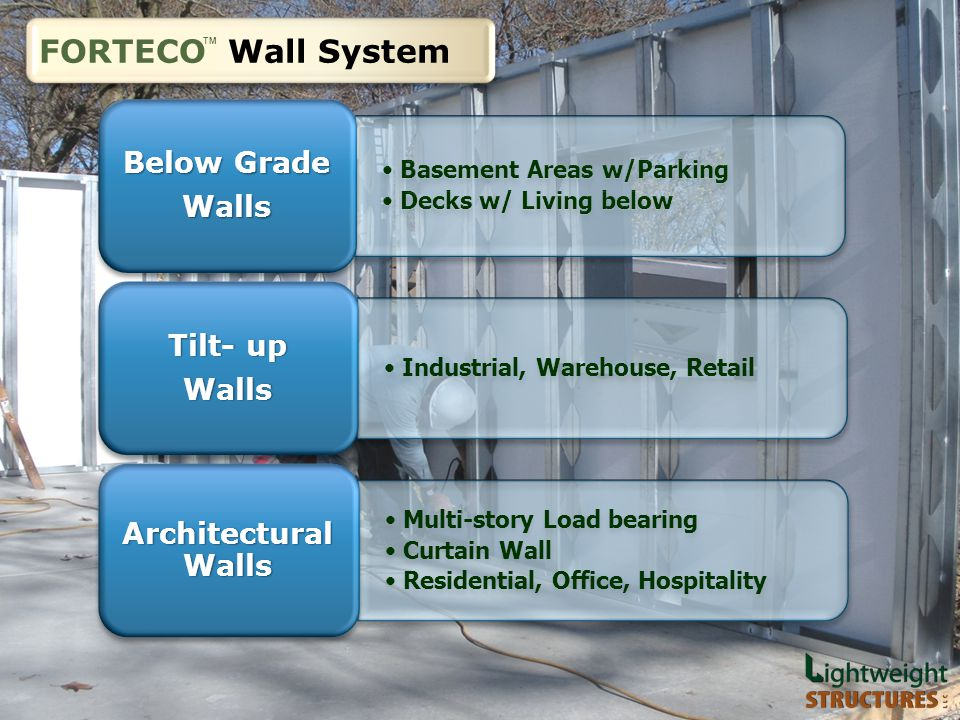 Below Grade Walls Industrial, Warehouse, Retail Tilt- up Walls Multi-story Load bearing Curtain Wall Residential, Office, Hospitality Architectural Walls FORTECO Wall System TM