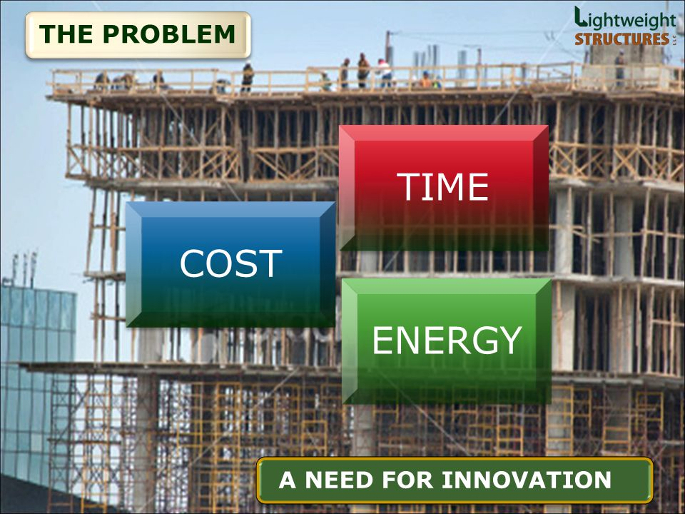 TIMECOSTENERGY THE PROBLEM A NEED FOR INNOVATION