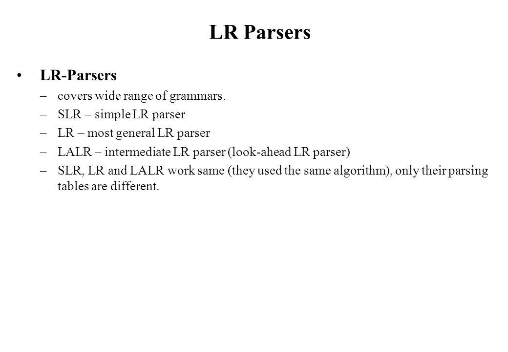 LR Parsers LR-Parsers –covers wide range of grammars.