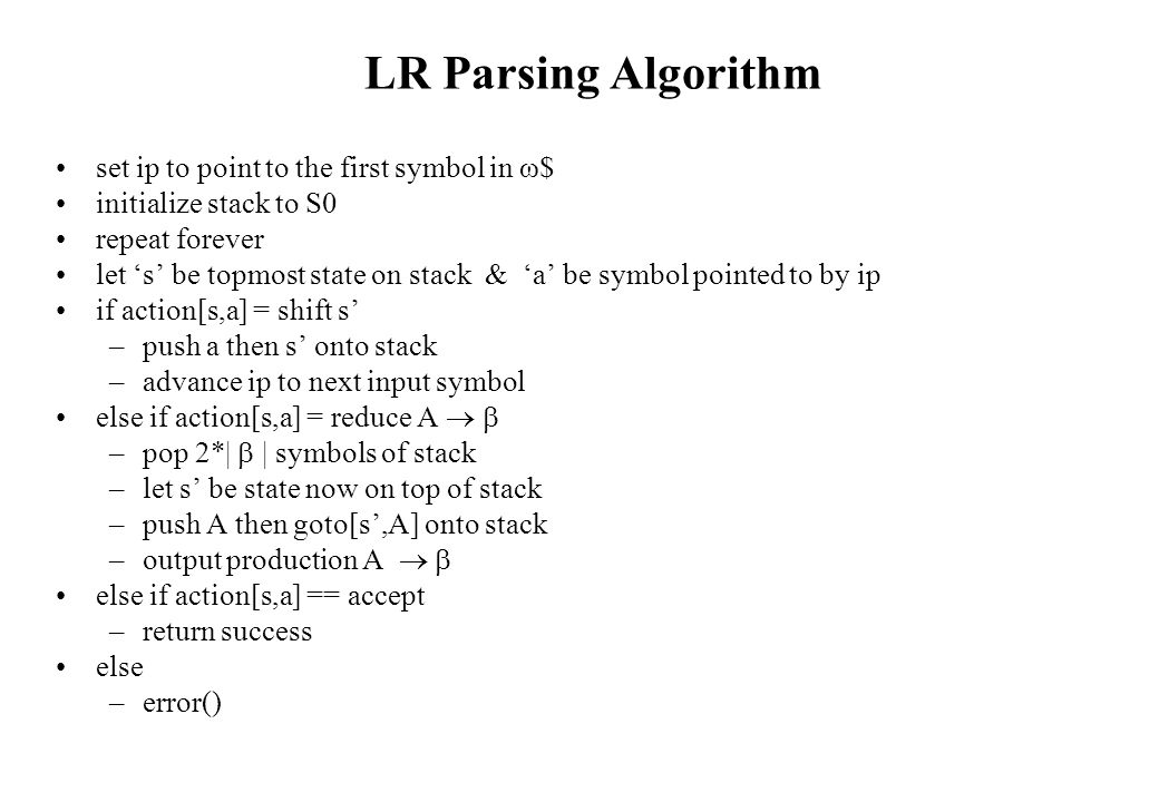 LR Parsing Algorithm set ip to point to the first symbol in ω$ initialize stack to S0 repeat forever let 's' be topmost state on stack & 'a' be symbol pointed to by ip if action[s,a] = shift s' –push a then s' onto stack –advance ip to next input symbol else if action[s,a] = reduce A   –pop 2*|  | symbols of stack –let s' be state now on top of stack –push A then goto[s',A] onto stack –output production A   else if action[s,a] == accept –return success else –error()