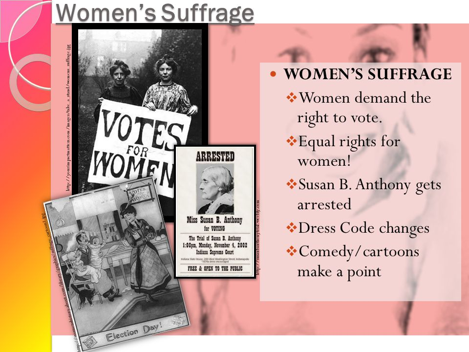 Women's Suffrage WOMEN'S SUFFRAGE  Women demand the right to vote.  Equal rights for women!  Susan B. Anthony gets arrested  Dress Code changes 