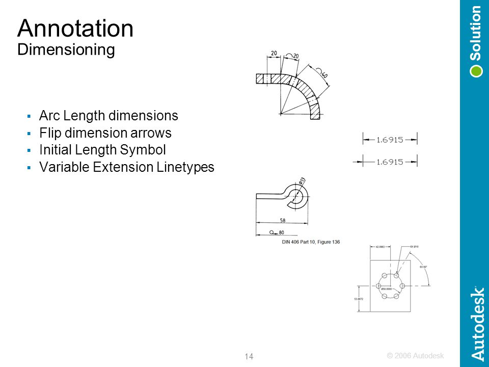 © 2006 Autodesk 14 Annotation Dimensioning  Arc Length dimensions  Flip dimension arrows  Initial Length Symbol  Variable Extension Linetypes Solution
