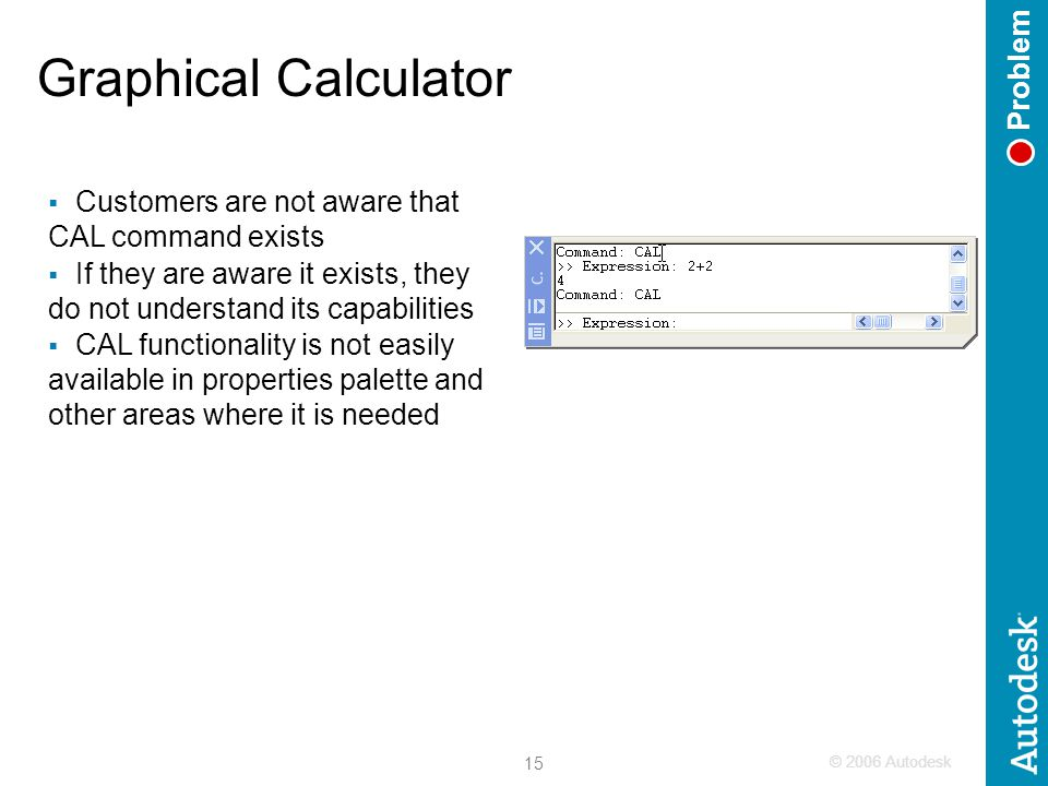 © 2006 Autodesk 15 Graphical Calculator Problem  Customers are not aware that CAL command exists  If they are aware it exists, they do not understan
