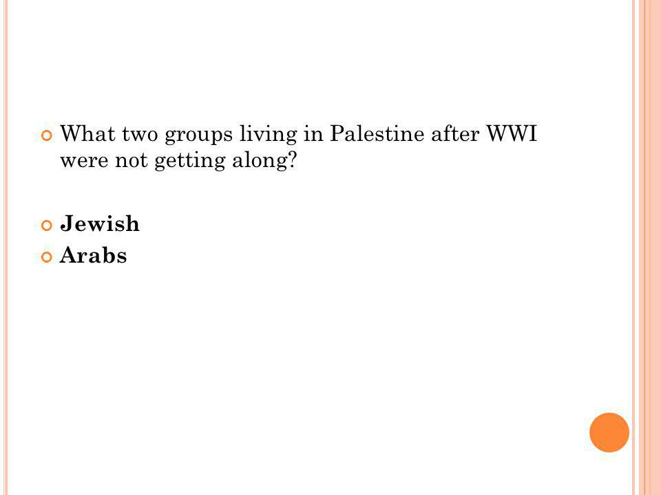 What two groups living in Palestine after WWI were not getting along Jewish Arabs