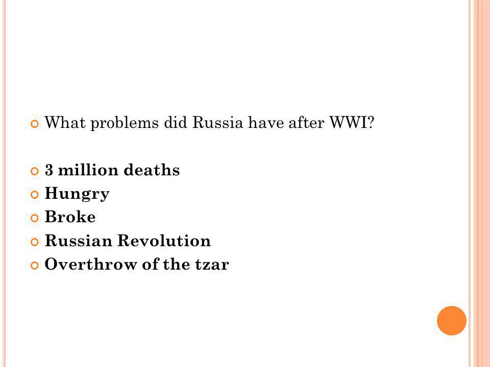 What problems did Russia have after WWI.