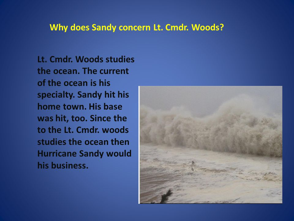 Why does Sandy concern Lt. Cmdr. Woods. Lt. Cmdr.