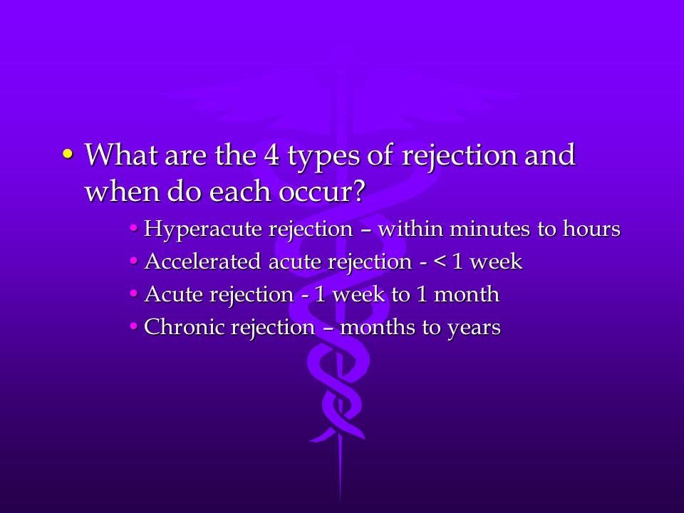 What are the 4 types of rejection and when do each occur?What are the 4 types of rejection and when do each occur? Hyperacute rejection – within minut