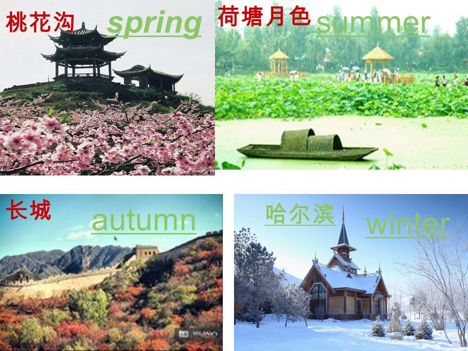 桃花沟 spring 荷塘月色 长城 autumn winter 哈尔滨 summer