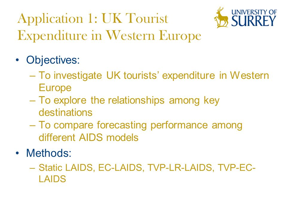 Application 1: UK Tourist Expenditure in Western Europe Objectives: –To investigate UK tourists' expenditure in Western Europe –To explore the relationships among key destinations –To compare forecasting performance among different AIDS models Methods: –Static LAIDS, EC-LAIDS, TVP-LR-LAIDS, TVP-EC- LAIDS