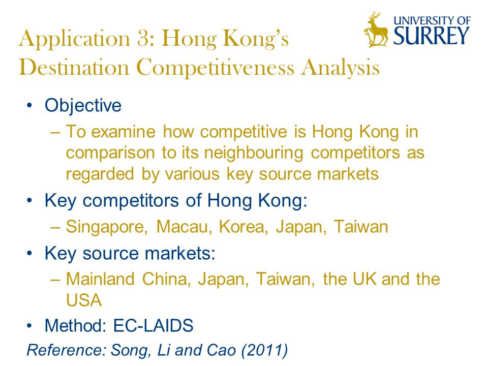 Application 3: Hong Kong's Destination Competitiveness Analysis Objective –To examine how competitive is Hong Kong in comparison to its neighbouring competitors as regarded by various key source markets Key competitors of Hong Kong: –Singapore, Macau, Korea, Japan, Taiwan Key source markets: –Mainland China, Japan, Taiwan, the UK and the USA Method: EC-LAIDS Reference: Song, Li and Cao (2011)