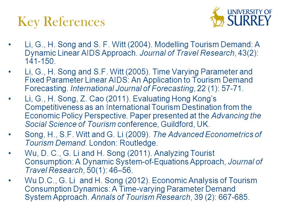 Key References Li, G., H. Song and S. F. Witt (2004).