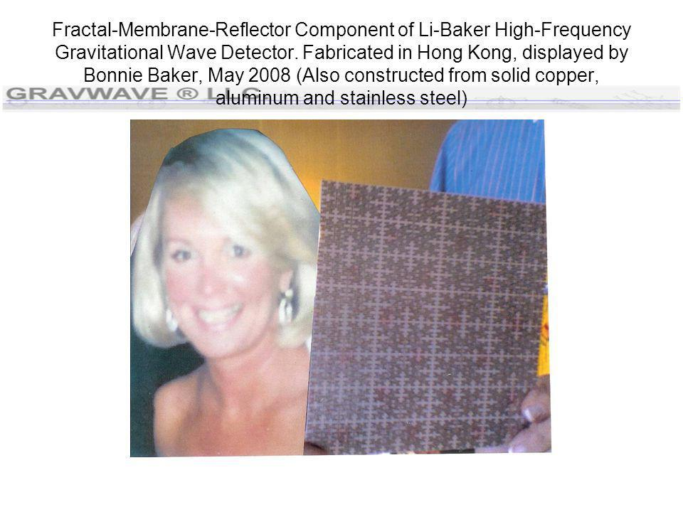 Fractal-Membrane-Reflector Component of Li-Baker High-Frequency Gravitational Wave Detector. Fabricated in Hong Kong, displayed by Bonnie Baker, May 2