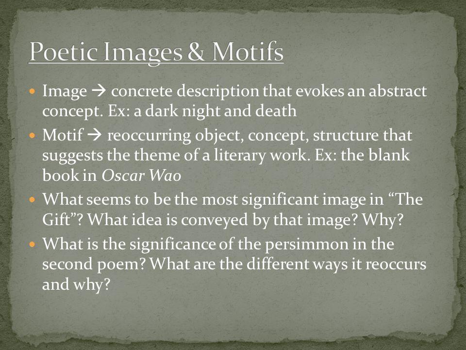 Image  concrete description that evokes an abstract concept.