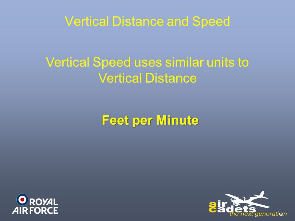 Vertical Distance and Speed Vertical Speed uses similar units to Vertical Distance Feet per Minute