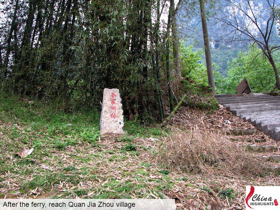 After the ferry, reach Quan Jia Zhou village