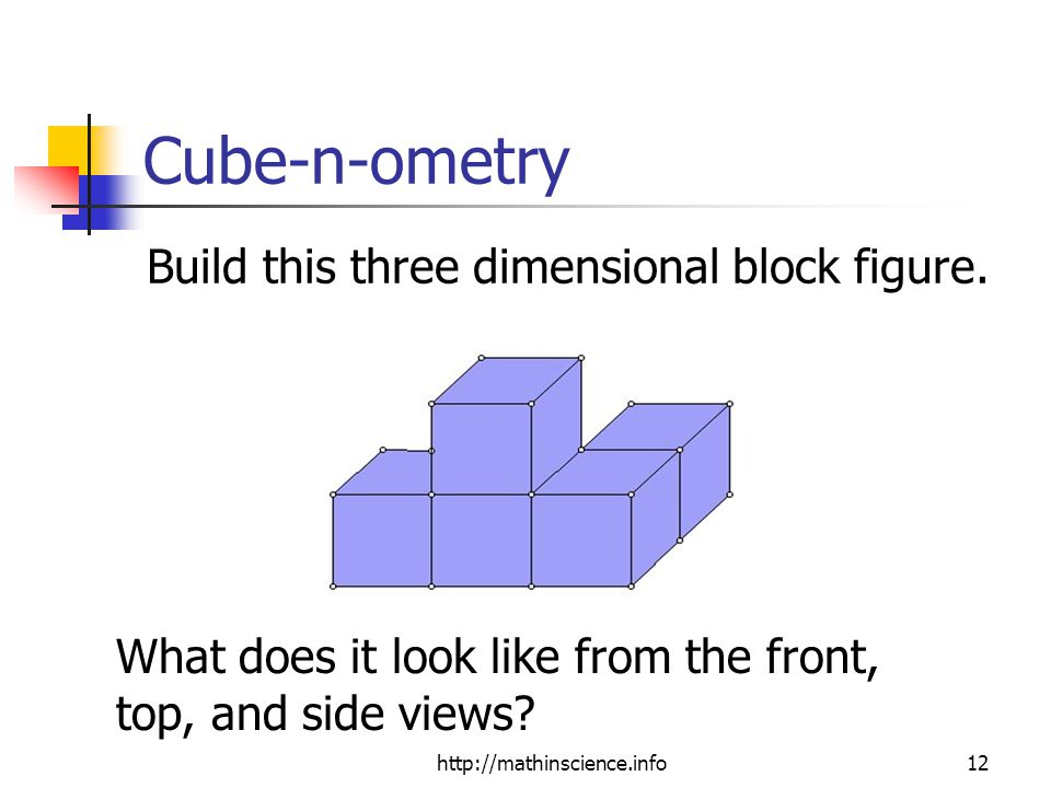 http://mathinscience.info12 Cube-n-ometry Build this three dimensional block figure.
