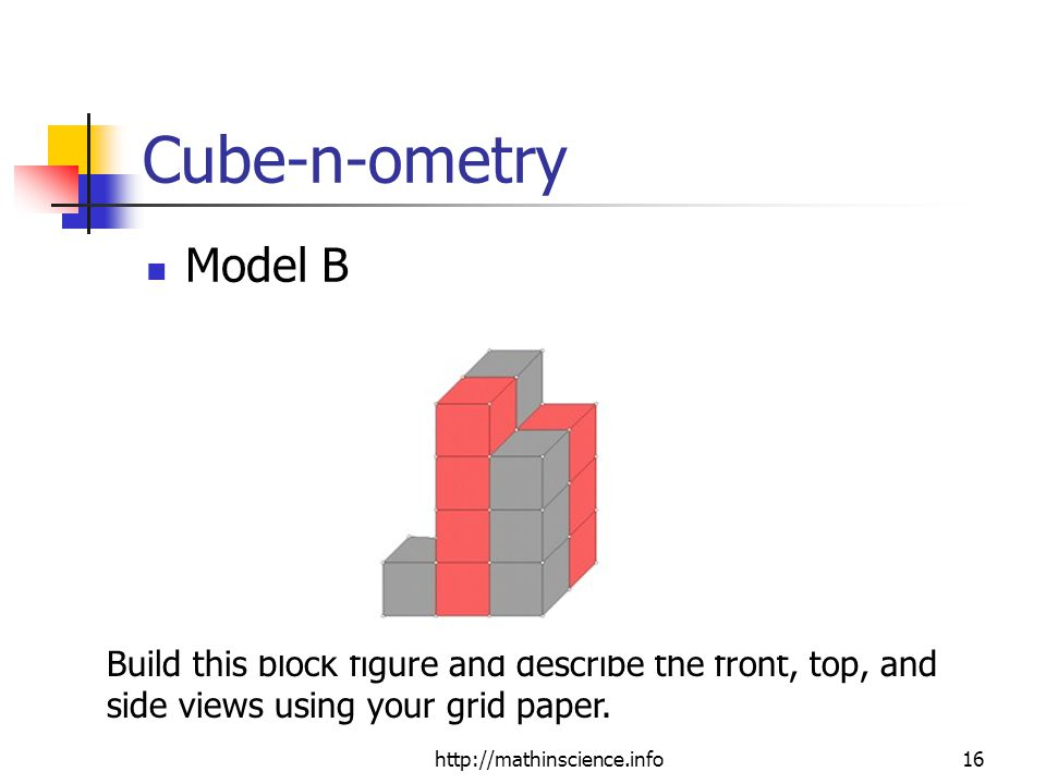 http://mathinscience.info16 Cube-n-ometry Model B Build this block figure and describe the front, top, and side views using your grid paper.