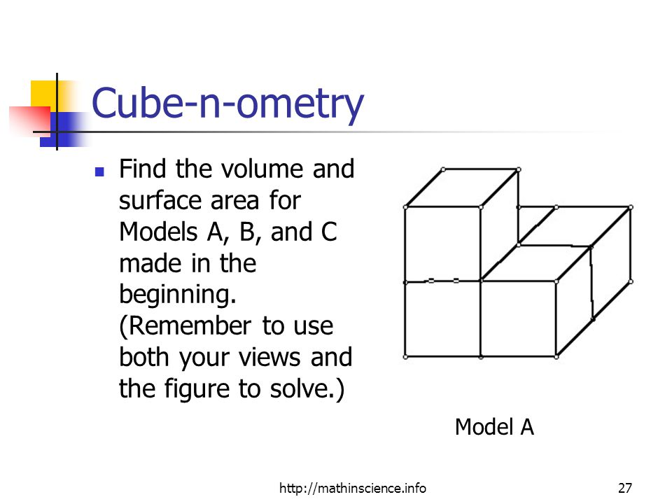 http://mathinscience.info27 Cube-n-ometry Find the volume and surface area for Models A, B, and C made in the beginning.