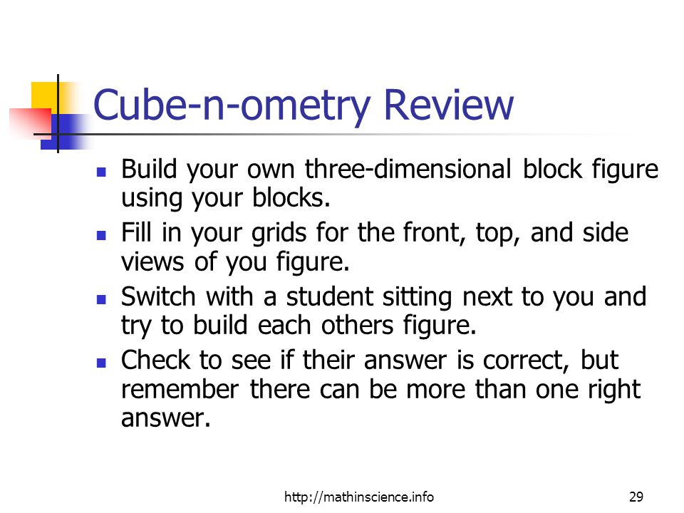 Cube-n-ometry Review Build your own three-dimensional block figure using your blocks.