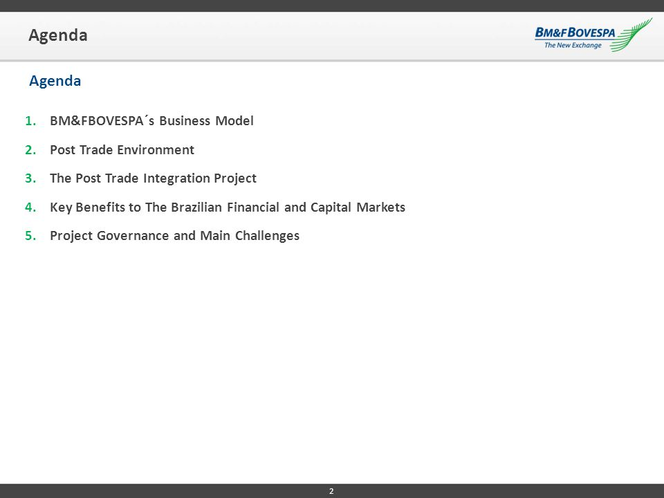 1. BM&FBOVESPA´S BUSINESS MODEL