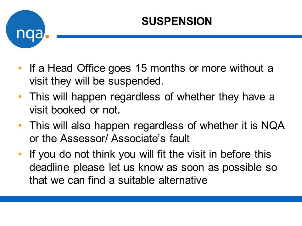 SUSPENSION If a Head Office goes 15 months or more without a visit they will be suspended.